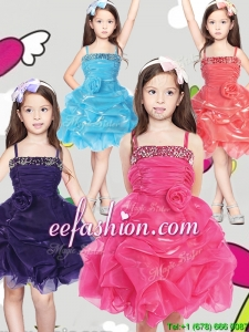 Latest Spaghetti Straps Mini Quinceanera Dresses with Hand Made Flowers and Pick Ups