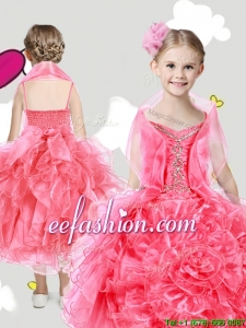 Lovely Spaghetti Straps Mini Quinceanera Dresses with Beading and Rolling Flowers