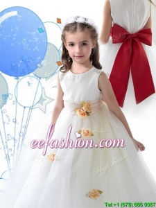 Luxurious Scoop White Mini Quinceanera Dresses with Sashes and Hand Made Flowers