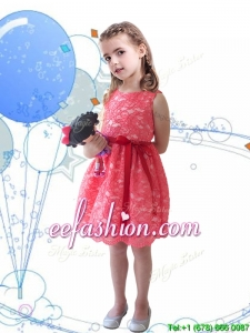 New Style Scoop Sashes and Lace Mini Quinceanera Dresses in Coral Red