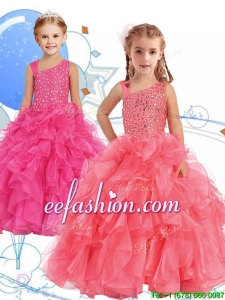 Perfect Beaded and Ruffled Asymmetrical Neckline Mini Quinceanera Dresses in Watermelon Red