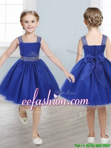 Perfect Straps Royal Blue Mini Quinceanera Dresses with Beading and Bowknot