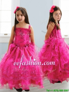 Popular Spaghetti Straps Lace and Ruffled Layers Mini Quinceanera Dresses in Hot Pink