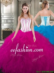 Exquisite Really Puffy Tulle Quinceanera Gown with Beading and Ruffles