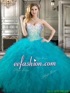Gorgeous Teal Really Puffy Quinceanera Dress with Beading and Ruffles
