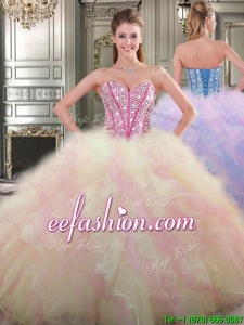 Lovely Big Puffy Tulle Quinceanera Dress with Beading and Ruffles