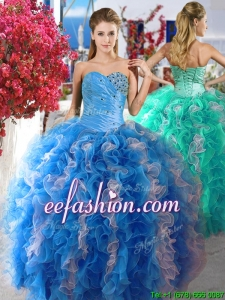 Luxurious Beaded and Ruffled Organza Quinceanera Dress in Blue and White