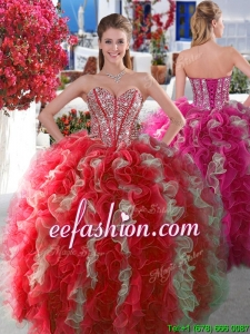 Visible Boning Beaded and Ruffled Quinceanera Gown in Red and White