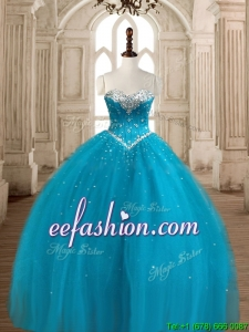Best Selling Ball Gown Teal Sweet 16 Dress with Beading