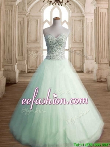 Classical Beaded Bodice Tulle Quinceanera Dress in Apple Green