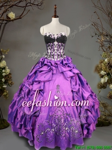 Exclusive Big Puffy Beading and Pick Ups Quinceanera Dress in Taffeta