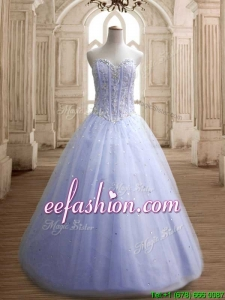 Hot Sale Beaded Bodice Tulle Quinceanera Dress in Lavender