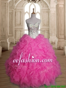 Lovely Rose Pink Sweet 16 Dress with Beading and Ruffles