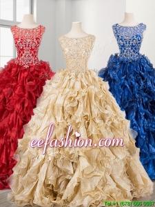 New See Through Scoop Beading and Ruffles Sweet 16 Dress in Organza