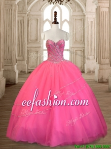 Top Selling Beaded Tulle Sweet 16 Dress in Rose Pink