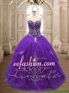 Hot Sale Brush Train Purple Quinceanera Dress with Appliques