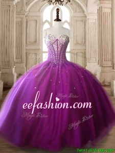 Modest Beaded Bodice Big Puffy Quinceanera Dress in Fuchsia