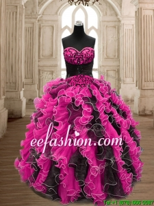 Modest Hot Pink and Black Quinceanera Dress with Beading and Ruffles