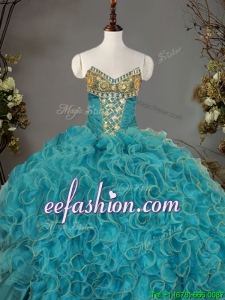 Romantic V Neck Quinceanera Dress with Beading and Ruffles for Winter