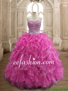 Unique Fuchsia Big Puffy Quinceanera Dress with Beading and Ruffles