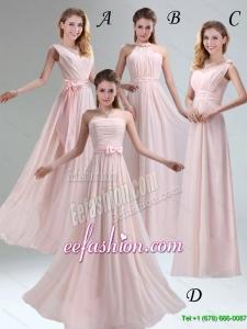 2015 Fall Most Beautiful Chiffon Light Pink Empire Dama Dress with Ruching