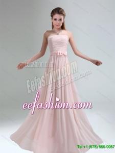 2015 Most Popular Light Pink Empire Dama Dress with Bowknot belt