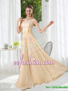 2015 New Style Bateau Empire Dama Dress with Lace and Belt