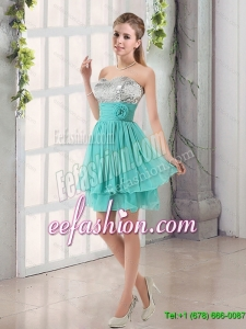 2017 Summer Sweetheart A Line Dama Dress with Sequins and Handle Made Flowers