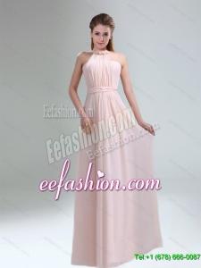 Beautiful 2015 High Neck Chiffon Light Pink Dama Dress