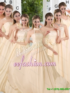 Beautiful Empire Ruching 2015 Floor Length Dama Dresses