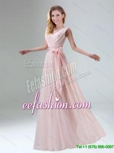 Fashionable Belt Ruching Chiffon Dama Dress with Bowknot