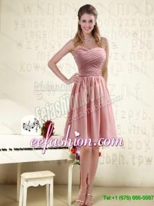 Luxurious 2016 Sweetheart Empire Chiffon Dama Dresses with Ruching
