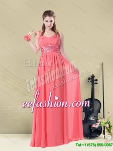Luxurious and Super Hot Straps Floor Length Dama Dress with Belt