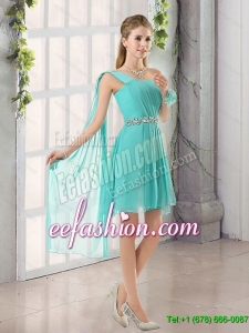 New Arrival 2015 One Shoulder A Line Beading and Ruching Dama Dress with Lace Up