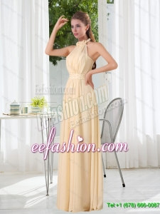 New Style Empire Halter Ruching Dama Dress with Hand Made Flowers