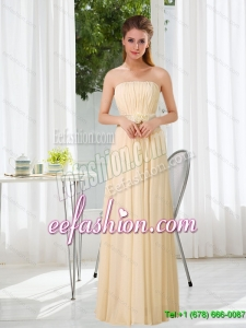New Style Empire Strapless Ruching and Belt Dama Dress with Floor Length