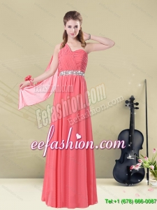 Pretty One Shoulder Beaded Long Dama Dress with Ruches