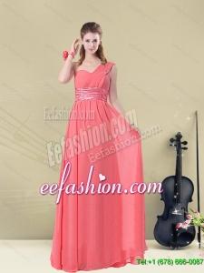 Winter 2015 Elegant Floor Length Belt One Shoulder Dama Dress Fitted