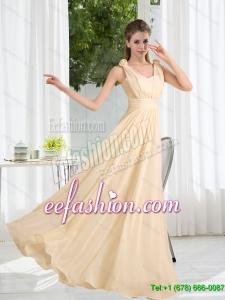 2015 New Style V Neck Empire Ruching Dama Dress