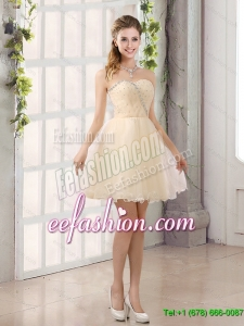 2015 New Arrival Sweetheart A Line Dama Dresses with Beading