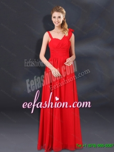 2015 Pretty Ruching Empire Dama Dresses with Asymmetrical