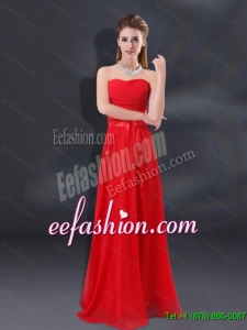 2015 Summer Elegant Ruching Empire Dama Dresses with Belt