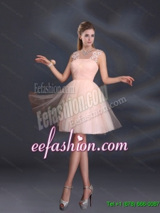 2015 Summer Straps Appliques New Style Dama Dresses in Baby Pink