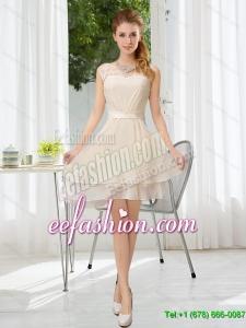 Elegant 2015 Fall Bateau Belt Mini Length Dama Dress with Lace Up
