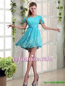 Elegant 2015 Summer A Line Ruching and Belt V Neck Dama Dress with Cap Sleeves