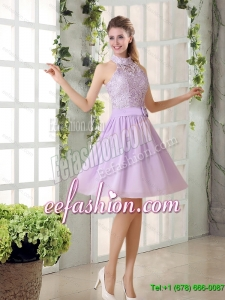 New Style High Neck Lilac A Line Lace Dama Dress Chiffon for 2015 Summer