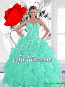 2016 Perfect Appple Green Quinceanera Dresses with Beading and Ruffles