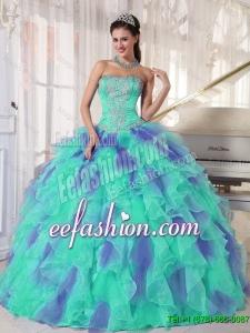 Elegant Multi Color Strapless Floor Length Appliques 2016 Quinceanera Dresses with Beading