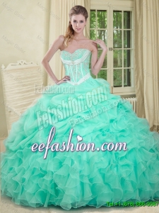 Beautiful Beaded and Pick Ups 2016 Quinceanera Dresses in Apple Green