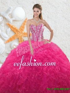 Beautiful Sweetheart Hot Pink 2016 Quinceanera Dresses with Beading